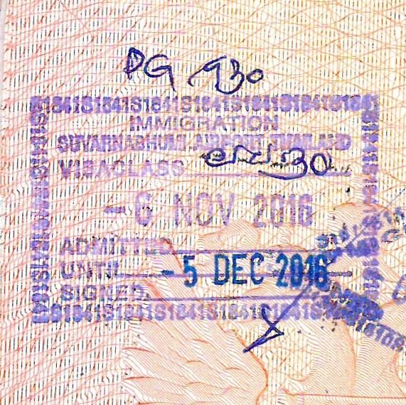 <Штамп прямоугольный: Миграционная служба; Аэропорт Суварнабхуми; Таиланд; Класс визы <неразборчиво>; 06 ноября 2016; Допуск получен; До 05 декабря 2016 г.; <Подпись>; PG 930.>