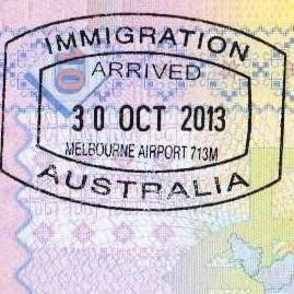 <Штамп: ИММИГРАЦИЯ ; ВЪЕЗД 30 ОКТЯБРЯ 2013; АВСТРАЛИЯ; Аэропорт Мельбурн 713М.>