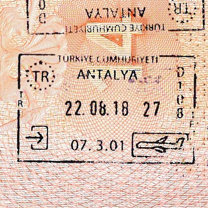<Штамп: Турецкая Республика; Анталья; D 108; 07.3.01; 22.08.18, 27.>
